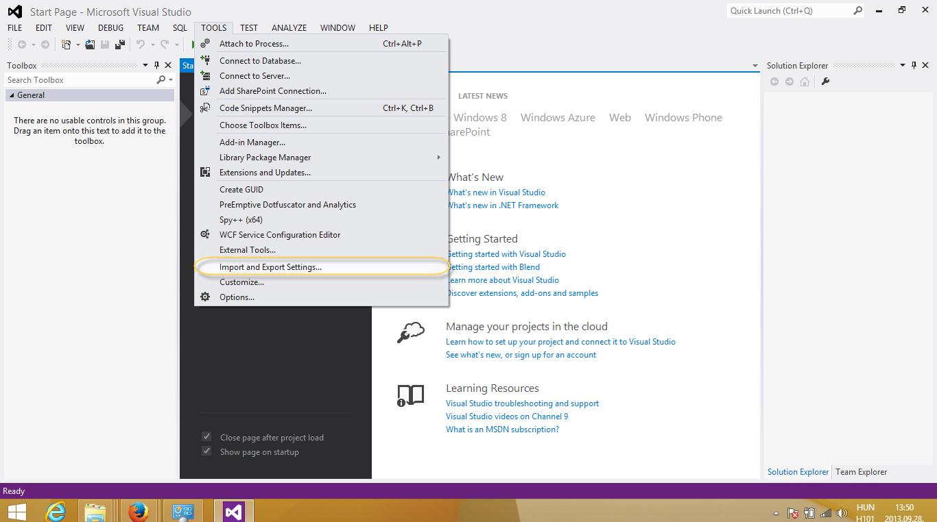 Programozói környezet váltása Visual Studio-ban
