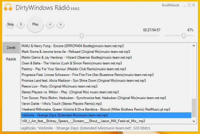 DirtyWindows rádióról és fejlesztési ütemterv