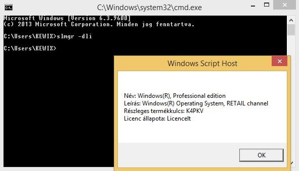 Főbb slmgr parancsok Windows alatt