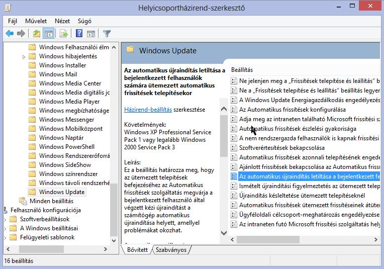 [Windows 8] Automatikus újraindítás letiltása