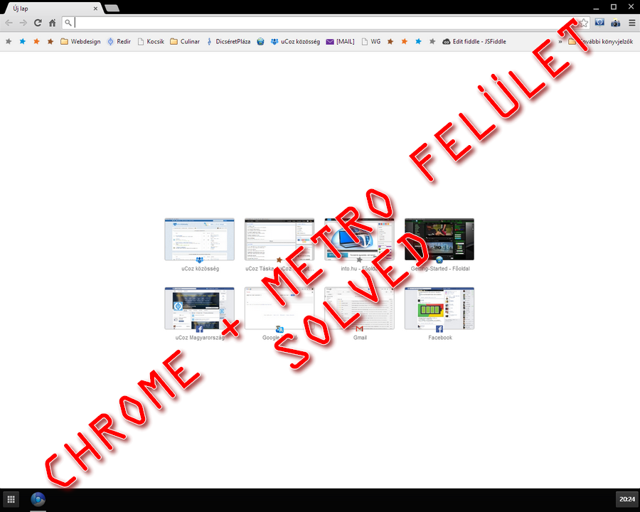 Google Chrome Windows 8 Metro felületen