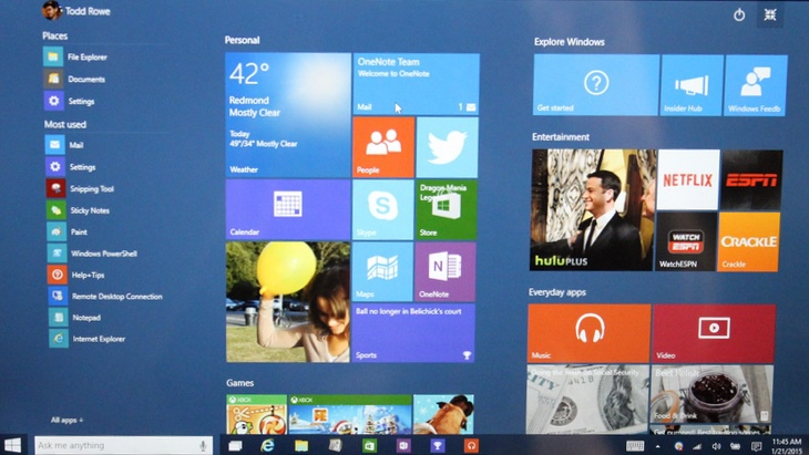 Fejlemények: Windows 10 Build 9926