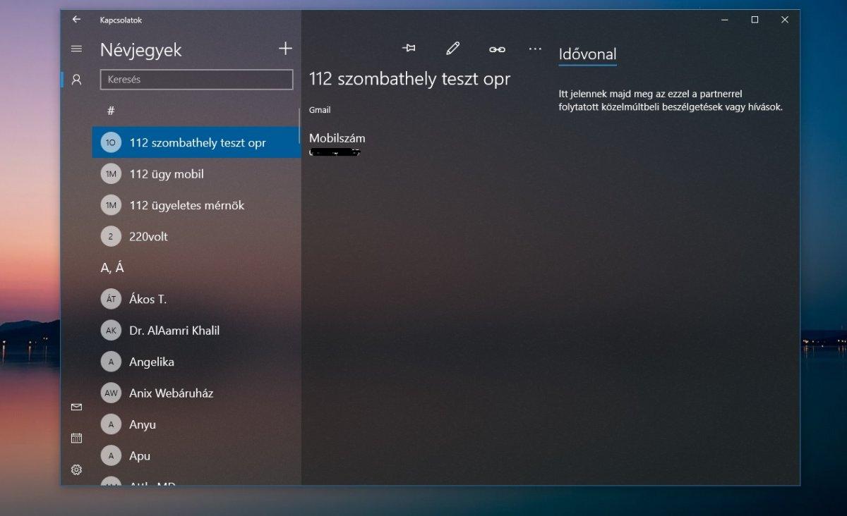 Windows 10 Project Neon a kapcsolatok alkalmazásban