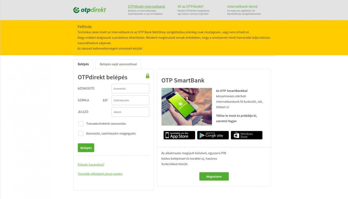 Áll sok helyen az Online fizetés az OTP miatt