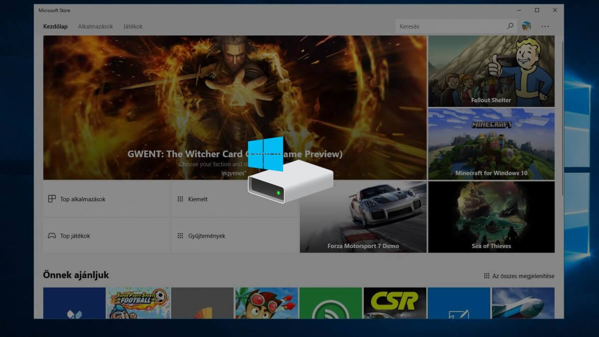 Hogyan módosítsuk a Windows 10 Áruház alkalmazások telepítésének helyét
