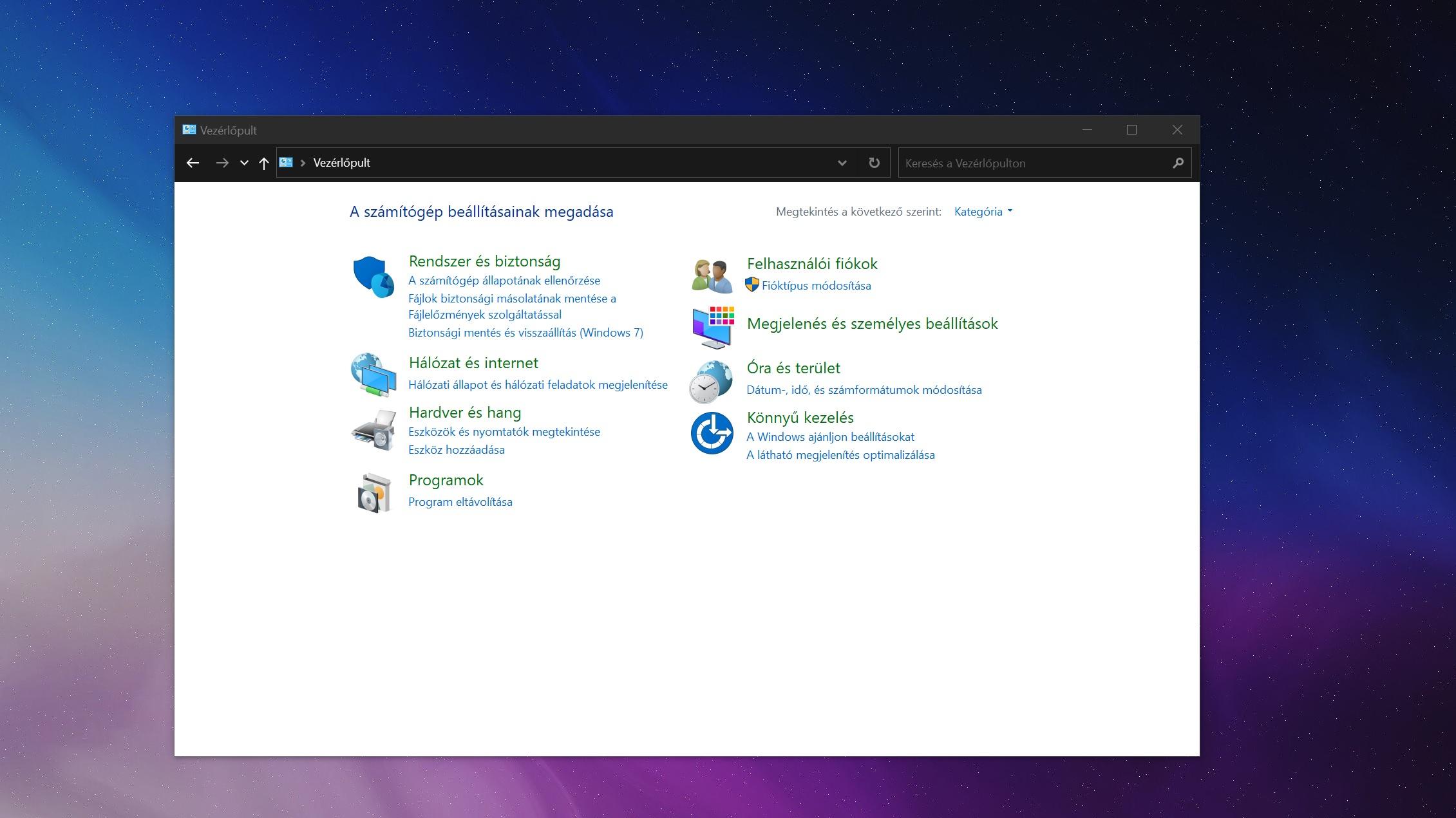 A Windows 10 átirányít az új felületre egyes vezérlőpult elemeket