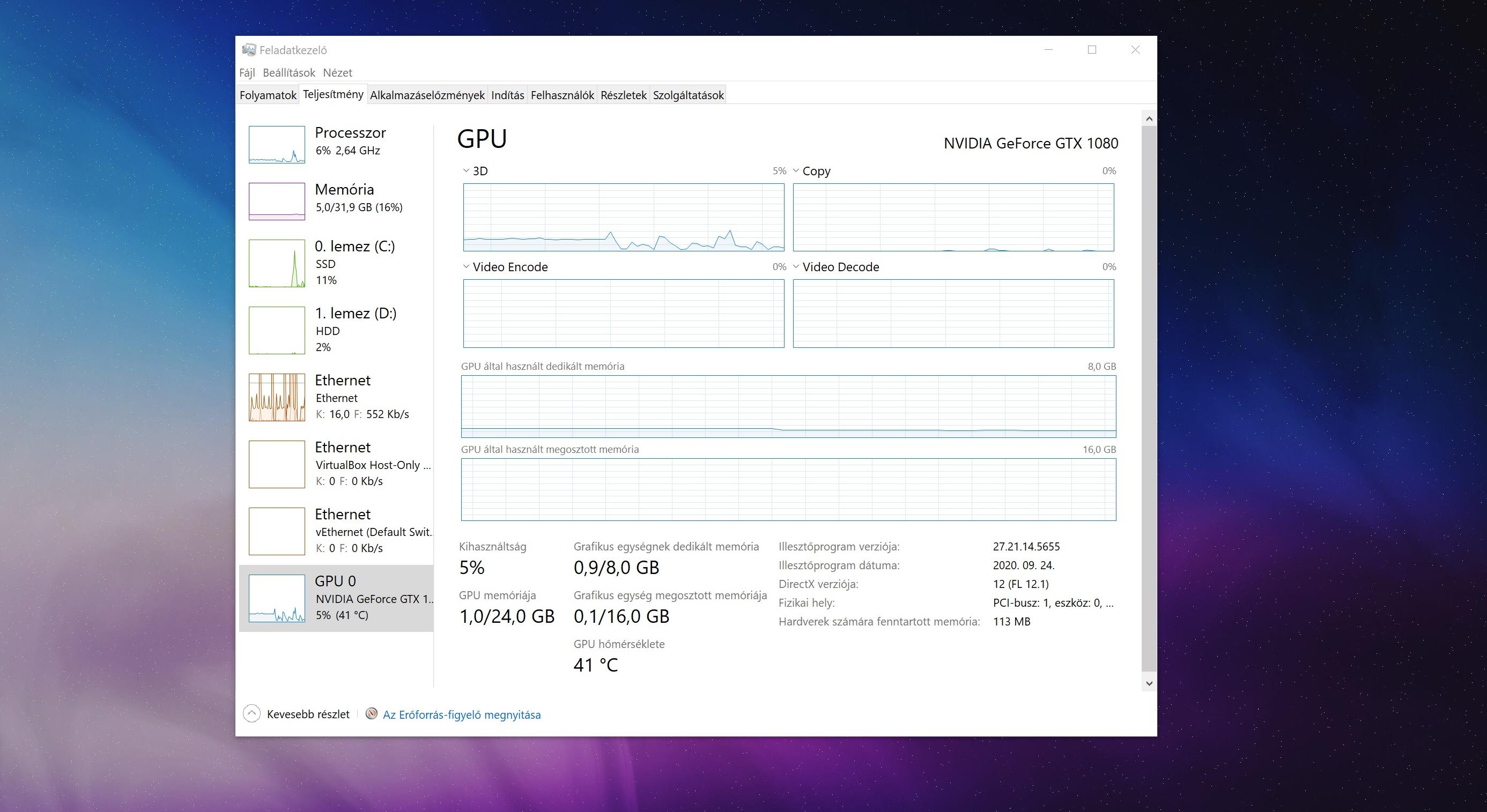 Windows 10 feladatkezelője immáron részletes videókártya adatokat nyújt